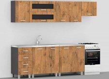Kuchyňská linka REA ALFA ZZ č.1 250 cm, GRAPHITE/LANCELOT
