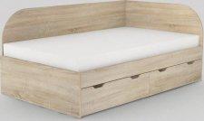 Dětská postel REA GARY 120x200 s úložným prostorem, pravá, DUB BARDOLINO