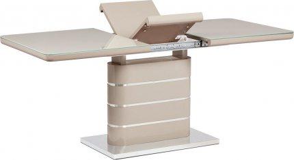 Jídelní stůl 140+40x80 cm, vysoký lesk cappuccino, sklo cappuccino, broušený nerez HT-442 CAP