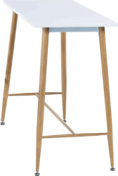 Barový stůl, bílá / buk, DORTON