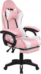 Kancelářské herní křeslo JOVELA s RGB podsvícením, růžová/bílá