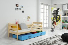Dětská postel Norbert 90x200 s úložným prostorem, borovice/modrá