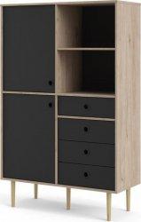 Skříňka RUBY 2D4S, hickory/černá