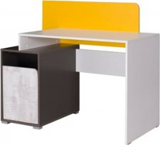 Psací stůl Bruce R8 bílá/grafit/enigma/žlutá