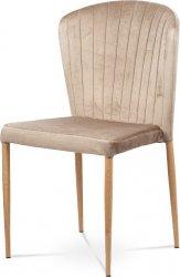 Jídelní židle, krémová sametová látka, kovová podnož, 3D dekor dub CT-614 CRM4