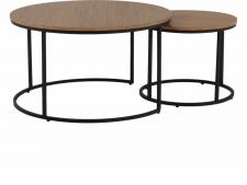 Kulatý konferenční stolek IKLIN, set 2 kusů, dub/černý