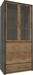 Vitrína MONTANA W2D, dub lefkas tmavý/smooth šedý
