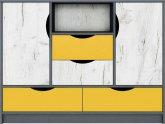 Dětská komoda DISNEY 2D4S, dub kraft bílý/šedý grafit/žlutá