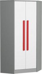 Rohová šatní skříň GYT 2 antracit/bílá/červená
