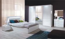 Ložnice ASIENA bílá lesk (skříň, postel 160, 2 noční stoleky)