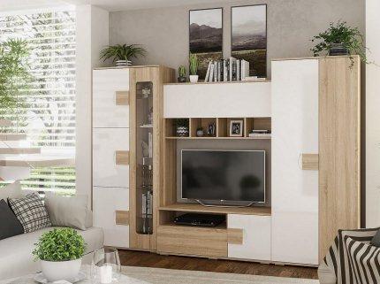 Obývací stěna, sestava AFINA dub sonoma/bílá lesk