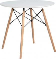 Kulatý jídelní stůl DEMIN, bílá/buk