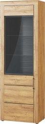 Vitrína KAMA 10, 1D dub camargue/černá mat