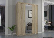 Šatní skříň Enja 3D se zrcadlem, dub sonoma