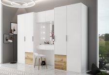 Šatní skříň SIENA 300 s toaletním stolkem, bílá/dub grand