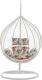 Závěsné křeslo, bílá/vzor květiny, NOELA NEW
