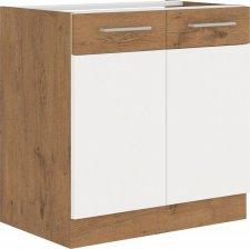 Kuchyňská skříňka Vega 80D2F dub lancelot/bílý lesk