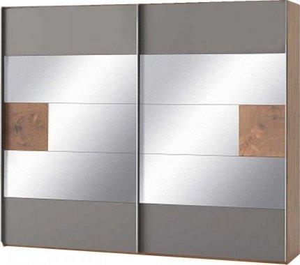 Šatní skříň LIVORNO 73, 2-dveřová, dub wotan/šedá