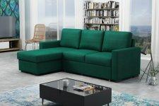 Rohová sedací souprava Tomáš, rozkládací s úložným prostorem, Kronos 19 zelená
