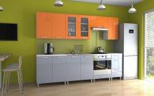 Kuchyňská linka Parkour MDR 260 cm, oranžový/šedý lesk
