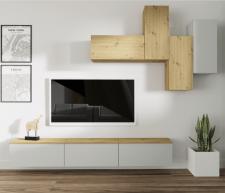 Obývací stěna, sestava OTEN světlešedá/dub artisan
