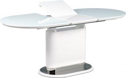 Jídelní stůl 140+40x80 cm, bílé sklo, MDF + bílý vysoký lesk, lesklý nerez AT-4020 WT