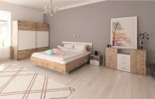 Ložnice GABRIELA dub wotan/bílá (postel 180)