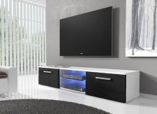 TV stolek RTV 03 s LED bílá/černý lesk
