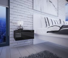 Noční stolek MATURIN černá/černá lesk