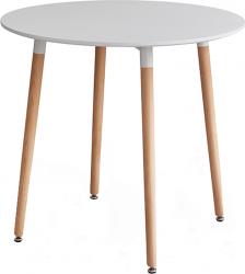 Kulatý jídelní stůl ELCAN 80, bílá/buk