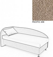 Čalouněná postel AVA NAVI, s úložným prostorem, 90x200, levá, PACIFIC 209