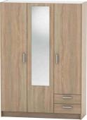 Šatní skříň BETTY 7, 3-dveřová, dub sonoma, BE07-001-00