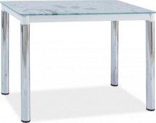 Jídelní stůl DAMAR II, bílé sklo/chrom