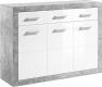 Komoda SLONE 2, šedý beton/bílá lesk
