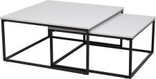 Konferenční stolek KASTLER TYP 1, set 2 kusů, matná bílá/černý kov