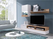 Obývací stěna, sestava ROSO bílá/dub zlatý