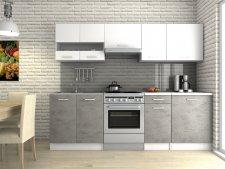 Kuchyňská linka Luigi III 240 cm, bílá/beton