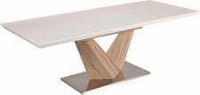 Rozkládací jídelní stůl DURMAN, bílá lesk/dub sonoma