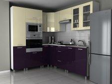 Rohová kuchyňská linka Milenium MDR vanilka/fialový lesk