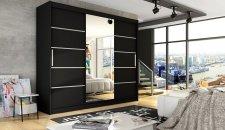 Šatní skříň ASTTON VI černá mat/zrcadlo