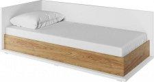 Dětská postel SOMAS 09L, 90x200 s úložným prostorem, levá, bílá/ořech natural
