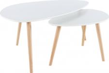 Oválný konferenční stolek FOLKO NEW set 2 kusů, bílá/buk