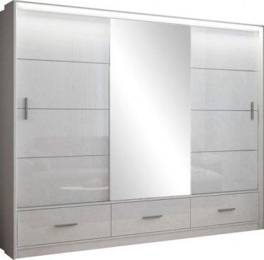 Šatní skříň MARSYLIA 250 bílá s osvětlením