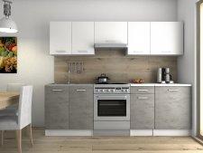 Kuchyňská linka Luigi 240 cm, bílá/beton