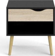 Noční stolek Retro 394 černý MAT/dub sonoma