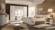 Ložnice LUMERA pinie bílá/dub sonoma truflový (postel 180,  2 noční stolky, skříň)