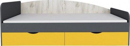 Dětská postel DISNEY 90x200, s úložným prostorem,  dub kraft bílý/šedý grafit/žlutá