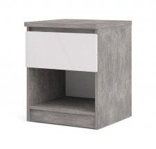 Noční stolek Simplicity 238 beton/bílý lesk
