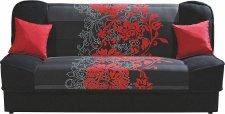 Rozkládací pohovka SORSO s úložným prostorem, červené květy