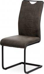 Pohupovací jídelní židle DCL-412 GREY3, šedá látka v dekoru vintage kůže, bílé prošití/černý kov